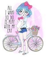Handritad söt flicka med cykel och katt