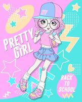 Handritad gullig flicka som bär kjol och ryggsäck med klotterbakgrund