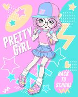Übergeben Sie gezogenem tragendem Rock und Rucksack des netten Mädchens mit Gekritzelhintergrund