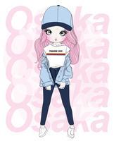 Handritad söt flicka som bär hatt med Osaka typografi