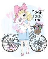 Handritad söt flicka med cykel och bästa vänshund