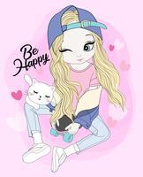 Übergeben Sie das gezogene nette Mädchen, das auf Skateboard mit Katze sitzt