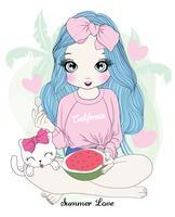 Hand gezeichnetes nettes Mädchen, das Wassermelone mit Katze isst vektor
