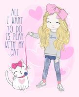 Handritad söt flicka som leker med katten