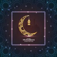 Glückliches Muharran glühendes Funkeln und Mondhintergrund
