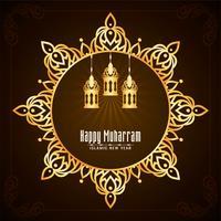Gyllene mandala ram Happy Muharran design vektor