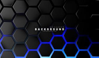Abstraktes schwarzes Hexagonmuster auf blauem Neonhintergrund