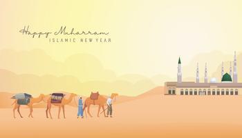 Lycklig Muharram hälsning för nytt år vektor