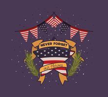 krans och USA-flaggan för minnesdagens emblem