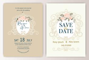 bröllop inbjudningskort med färgglada blommor och blad.