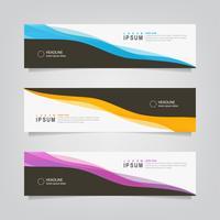 Uppsättning av abstrakt svart och färg vågiga linjer banner