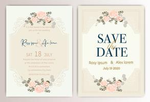 Hochzeitseinladungskarte mit buntem Blumen und Blättern.
