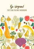 Gemüse und Obst Go Vegan vektor
