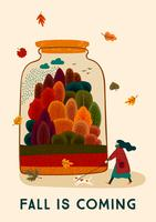 Der Herbst kommt mit süßen Frau und Hund. Vektor-Design