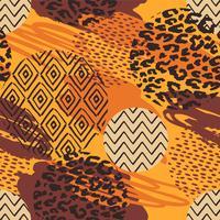 Stammes- ethnisches nahtloses Muster mit Tierdruck- und Bürstenanschlägen.