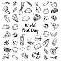 Världsmatdag med kött- och grönsakselement vektor
