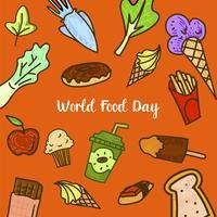 Världsmatdag med färgglada frukter vektor