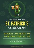 St Patrick Holiday Party-affisch och reklambladinbjudan vektor
