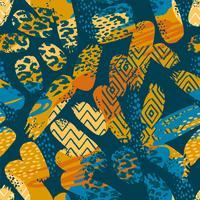 Stammes- ethnisches nahtloses Muster mit Tierdruck- und Bürstenanschlägen vektor