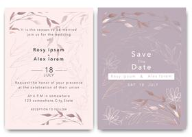 Bröllopsinbjudningar sparar datumkortdesignen med elegant trädgårdsanemone. vektor