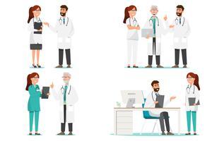 Uppsättning av seriefigurer för medicinsk personal