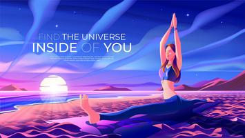 Yoga på stranden vektor