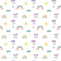 Skandinavische nahtlose Musterwolken, -regen, -sonne und -regenbogen des Kindervektors