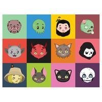 Halloween-Charakterporträts auf bunten Hintergründen