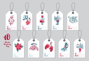 Samling Merry Christmas vektor gåva taggar