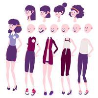 Mädchen Charakter Design Emotion, Haare und Kleidung festgelegt vektor