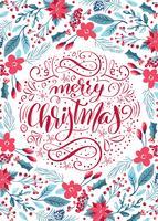 Blommig mönster för glad jul kalligrafisk bokstäver