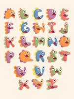 söta dinosaurie alfabetet teckensnitt set vektor