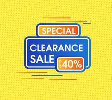 Abstrakter Räumungsverkauf mit gelbem minimalem Hintergrund