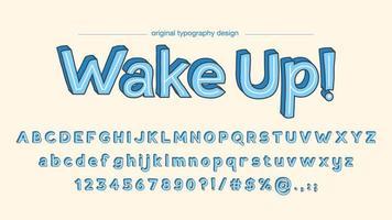 Mutiger Cartoon scherzt blaue Typografie