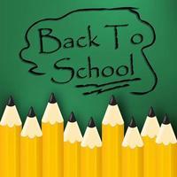 Tillbaka till skolmeddelandet med blyertsbokstäver vektor