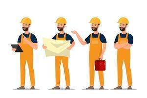 Uppsättning av arkitekt, förman, teknikbyggnadsarbetare