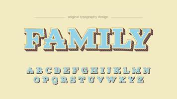 Hellblaue Platten-Cartoon-Typografie