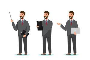 uppsättning affärsman i olika poser vektor