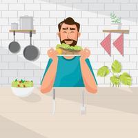 Mannen äter sallad och biff