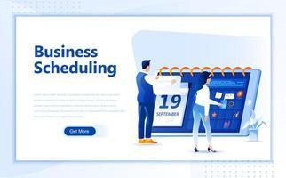 Flaches Webseitendesign des Geschäftszeitplans