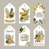 Frohe Weihnachten und Happy New Year Etiketten