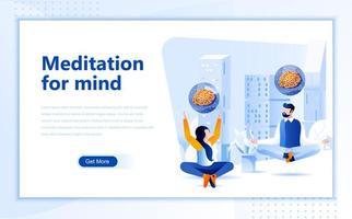 Meditation för mind platt design av webbsidor