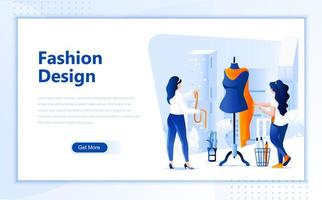 Flaches Webseitendesign des Modedesigns