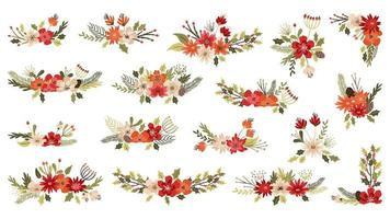 Blomsterarrangemang för jul och vinter vektor