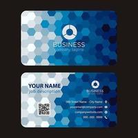 Blått hexagon modernt färgrikt visitkort