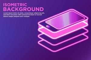 Einfacher glühender isometrischer Hintergrund des intelligenten Telefons
