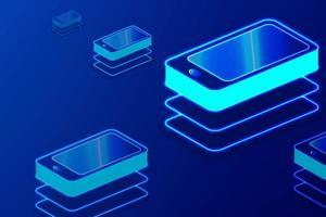Glödande smart telefon som upprepar mönsterbakgrund