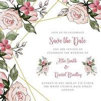 Speichern Sie die Datums-Blumenhochzeits-Einladung vektor