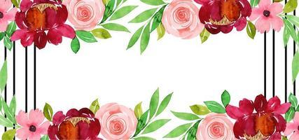 Vacker akvarell blommig bakgrund vektor