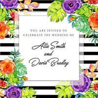 Floral Black Stripe Einladungskarte